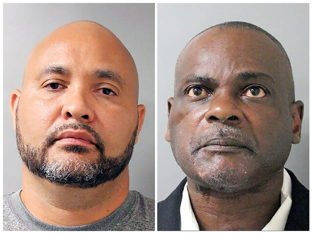 FILE - This combination of undated file photos provided by the Houston Police Department shows Steven Bryant, left, and Gerald Goines, in Houston. Prosecutors said Wednesday, Feb. 12, 2020, they believe a second person who was convicted based on what they allege is false testimony by Goines, an ex-Houston police officer whose cases are being reviewed following a 2019 deadly drug raid, is actually innocent. Bryant is also facing state and federal charges in the deadly raid. Both men were relieved of duty after the shooting and later retired. (Houston Police Department via AP, File)