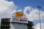 Sahlen Field signage is viewed Friday, July 24, 2020, in Buffalo N.Y. The Toronto Blue Jays will play their 2020 home games at the field, the home of their Triple-A affiliate, the Buffalo Bisons. (AP Photo/Jeffrey T. Barnes)