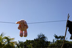 This Aug. 23, 2019, photo shows a stuffed animal hanging to dry at the Comayagua, Honduran home of a 3-year-old who was separated from her father when they tried to seek asylum at the U.S. southern border. She was sexually abused in U.S. foster care, according to court records. She was later deported and arrived back in Honduras withdrawn, anxious and angry. (AP Photo/Elmer Martinez)