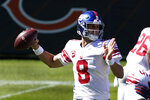 New York Giants quarterback Daniel Jones (8) throws against the Chicago Bears during the first half of an NFL football game in Chicago, Sunday, Sept. 20, 2020. (AP Photo/Charles Rex Arbogast)