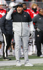 Ohio State head coach Ryan Day shouts to his team against Maryland during the second half of an NCAA college football game, Saturday, Nov. 9, 2019, in Columbus, Ohio. Ohio State beat Maryland 73-14. (AP Photo/Jay LaPrete)