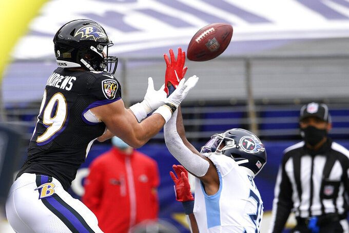 Tennessee Titans free safety Kevin Byard, right, disrupts an attempted pass intended for Baltimore Ravens tight end Mark Andrews (89) in the end zone during the first half of an NFL football game, Sunday, Nov. 22, 2020, in Baltimore. (AP Photo/Nick Wass)