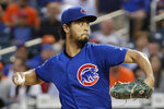 Chicago Cubs' starting pitcher Yu Darvish winds up during the second inning of a baseball game against the New York Mets, Tuesday, Aug. 27, 2019, in New York. (AP Photo/Kathy Willens)