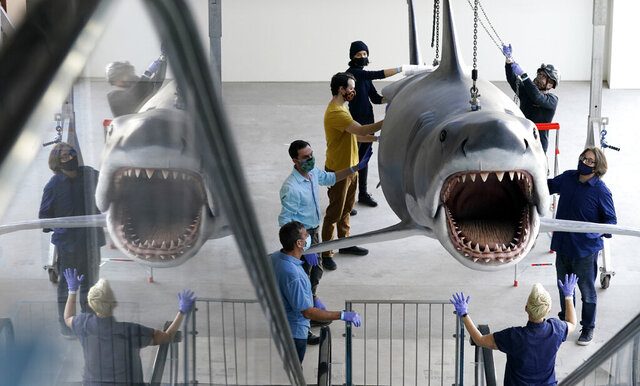 A fiberglass replica of Bruce, the shark featured in Steven Spielberg's classic 1975 film