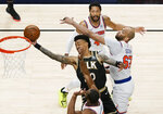 Atlanta Hawks forward John Collins (20) is fouled during the first half in Game 4 of an NBA basketball first-round playoff series Sunday, May 30, 2021, in Atlanta. (AP Photo/Brynn Anderson)
