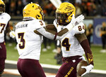 Arizona State running back Eno Benjamin celebrates with wide receiver Frank Darby after Darby scored a touchdown during the first half of an NCAA college football game against Oregon State in Corvallis, Ore., Saturday, Nov. 16, 2019. (AP Photo/Steve Dykes)