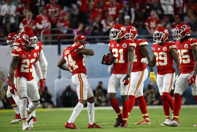 Kansas City Chiefs' Bashaud Breeland (21) celebrates with teammates after intercepting a pass against the San Francisco 49ers during the first half of the NFL Super Bowl 54 football game Sunday, Feb. 2, 2020, in Miami Gardens, Fla. (AP Photo/Lynne Sladky)