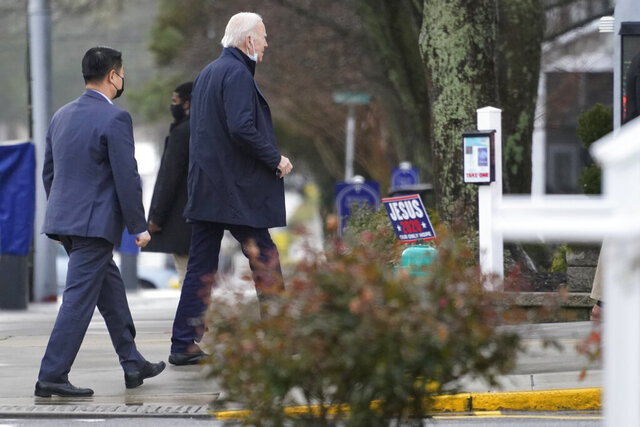 President-elect Joe Biden arrives at St. Edmond Catholic Church in Rehoboth Beach, Del., Sunday, Jan. 3, 2021. (AP Photo/Carolyn Kaster)