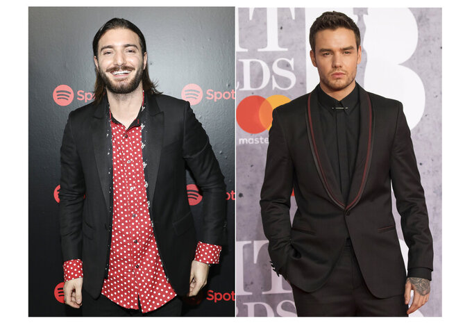 """This combination photo shows Alesso, left, at Spotify's Best New Artists Party on Jan. 25, 2018, in New York and Liam Payne at the Brit Awards in London, Feb. 20, 2019. The coronavirus has halted many plans in the music industry but it didn't stop Grammy-nominated DJ-producer Alesso and former One Direction singer Payne from filming a music video for the new dance song """"Midnight,"""" released on Wednesday. (AP Photo)"""