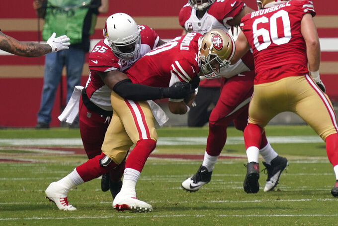 Arizona Cardinals linebacker Chandler Jones (55) sacks San Francisco 49ers quarterback Jimmy Garoppolo during the first half of an NFL football game in Santa Clara, Calif., Sunday, Sept. 13, 2020. (AP Photo/Tony Avelar)