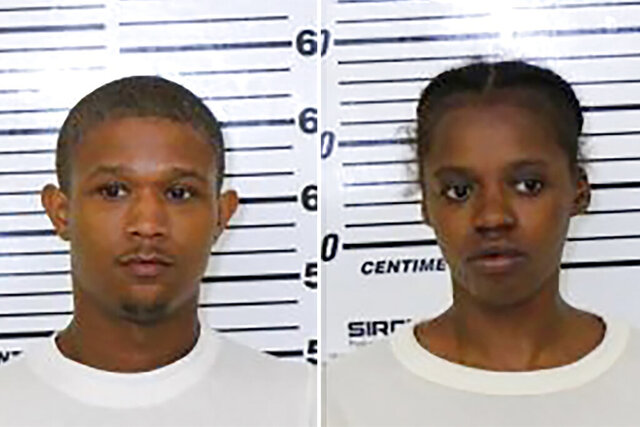 This photo combo provided by Scott County (Iowa) Jail shows from left, Tre Henderson and Jacqueline Rambert. Rambert was sentenced to 50 years in prison on charges stemming from the beating death of her 5-year-old son Friday, March 20, 2020, in Davenport, Iowa. She'd pleaded guilty to child endangerment resulting in death and child endangerment-multiple acts. Prosecutors agreed to drop a murder charge in return for her pleas. Rambert also had agreed to testify against her co-defendant and former boyfriend, Tre Henderson. He was convicted Feb. 13, 2020, of first-degree murder and other crimes. (Scott County (Iowa) Jail via AP)