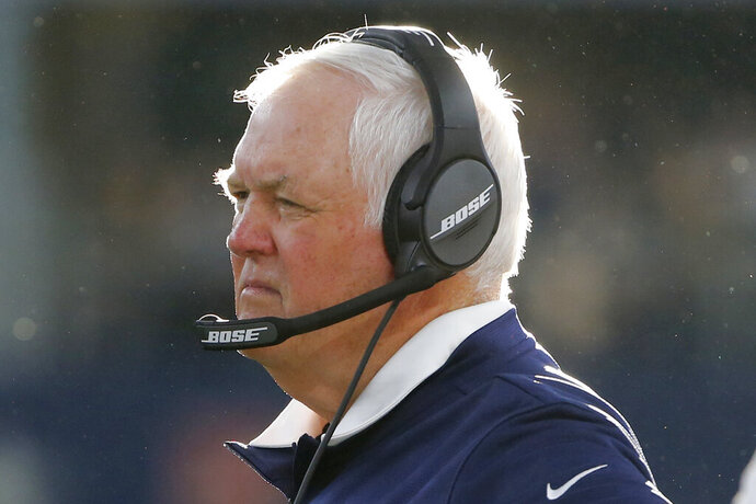 FILE - In this Dec. 15, 2019, file photo, Los Angeles Rams defensive coordinator Wade Phillips watches as they play the Dallas Cowboys in an NFL football game in Dallas. Veteran defensive coordinator Wade Phillips has been fired by the Los Angeles Rams after three winning seasons. Phillips announced Monday, Jan. 6, 2020, on Twitter that the Rams are not renewing his contract. (AP Photo/Michael Ainsworth, File)