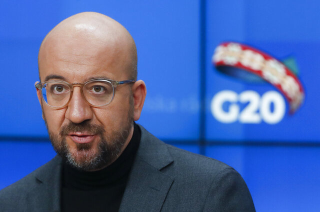 European Council President Charles Michel speaks during a press briefing ahead to a G20 online meeting in Brussels, Friday Nov. 20, 2020. (Olivier Hoslet, Pool Photo via AP)