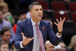 Minnesota Timberwolves head coach Ryan Saunders reacts to a call during the first half of an NBA basketball game against the Chicago Bulls in Chicago, Wednesday, Jan. 22, 2020. (AP Photo/Nam Y. Huh)