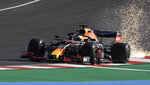 Red Bull driver Max Verstappen of the Netherlands steers his car during the second practice session prior to the Formula One Portuguese Grand Prix at the Algarve International Circuit in Portimao, Portugal, Friday, Oct. 23, 2020. The Formula One Portuguese Grand Prix will take place on Sunday. (Jorge Guerrero, Pool via AP)