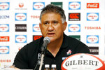 Japan head coach Jamie Joseph announces his 31-man squad for the Rugby World Cup during a press conference in Tokyo Thursday, Aug. 29, 2019. The 2019 Rugby World Cup kicks off next month. (Yuhei Tachibana/Kyodo News via AP)