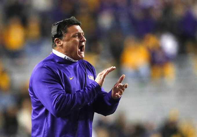 Orgeron plays up stakes of LSU's season finale at Texas A&M