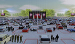 """This artist rendering released by Live Nation shows the set up for Live Nation's """"Live from the Drive-In,"""" concert series taking place July 10-12. (Live Nation via AP)"""