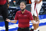 Arkansas head coach Eric Musselman reacts to a call in the second half of an NCAA college basketball game against Missouri in the Southeastern Conference Tournament Friday, March 12, 2021, in Nashville, Tenn. (AP Photo/Mark Humphrey)