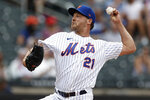 New York Mets pitcher Rich Hill delivers during the first inning of a baseball game against the Toronto Blue Jays on Sunday, July 25, 2021, in New York. (AP Photo/Adam Hunger)