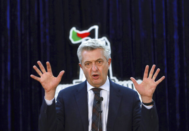 U.N. High Commissioner for Refugees Filippo Grandi speaks during a news conference in Kabul, Afghanistan, Tuesday, Nov. 17, 2020. (AP Photo/Rahmat Gul)
