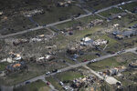 This Tuesday, March 3, 2020 aerial photo shows Mt. Juliet after a tornado ripped through Middle Tennessee in Nashville, Tenn. (George Walker IV The Tennessean via AP)