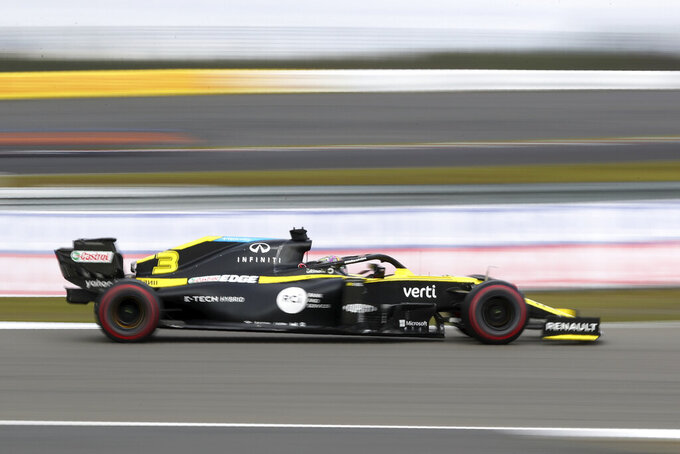 Renault driver Daniel Ricciardo of Australia steers his car during the Eifel Formula One Grand Prix at the Nuerburgring racetrack in Nuerburg, Germany, Sunday, Oct. 11, 2020. (AP Photo/Matthias Schrader, Pool)