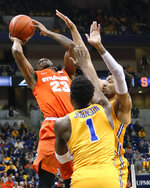 Syracuse's Frank Howard (23) shoots over Pittsburgh's Xavier Johnson (1) and Terrell Brown, right, during the first half of an NCAA college basketball game Saturday, Feb. 2, 2019, in Pittsburgh. (AP Photo/Keith Srakocic)