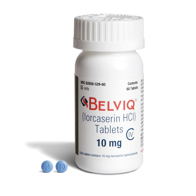 This undated image provided by Eisai in August 2018 shows the company's Belviq medication. On Thursday, Feb. 13, 2020, the drug's maker, Japan's Eisai Inc., said that it has agreed to voluntarily withdraw the weight loss drug at the request of the U.S. Food and Drug Administration, because of a slight increased risk of cancer. (Eisai via AP)