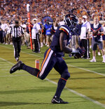 Virginia wide receiver Joe Reed (2) makes a touchdown catch during the second half of the team's NCAA college football game against Florida State in Charlottesville, Va., Saturday, Sept. 14, 2019. (AP Photo/Andrew Shurtleff)