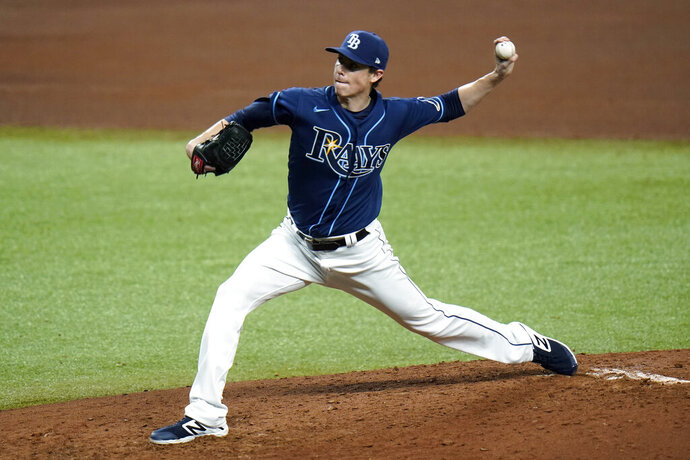 Tampa Bay Rays relief pitcher Ryan Yarbrough delivers to the Washington Nationals during the fifth inning of a baseball game Tuesday, Sept. 15, 2020, in St. Petersburg, Fla. (AP Photo/Chris O'Meara)