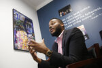 """FILE - In this Aug. 14, 2019, file photo, Stockton Mayor Michael Tubbs talks about a program to give $500 to 125 people who earn at or below the city's median household income of $46,033 during an interview in Stockton, Calif. A new HBO documentary dives into the dreams of the unlikely mayor who defied odds to lead his impoverished, Central California city. """"Stockton on My Mind"""" follows Tubbs, who became the community's youngest and first Black mayor in 2016. (AP Photo/Rich Pedroncelli, File)"""