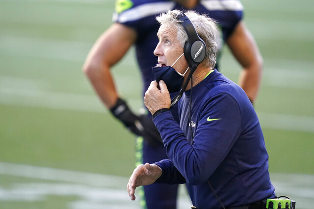 Seattle Seahawks head coach Pete Carroll reacts on the sidelines during the second half of an NFL football game against the Dallas Cowboys, Sunday, Sept. 27, 2020, in Seattle. (AP Photo/Elaine Thompson)