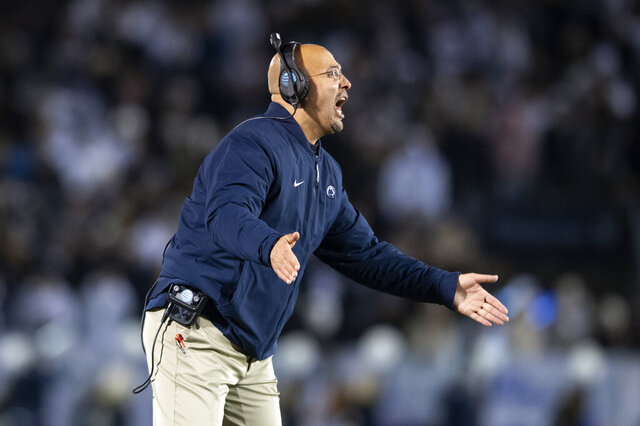 Penn State head coach James Franklin reacts to a score against Rutgers in the fourth quarter of an NCAA college football game in State College, Pa., on Saturday, Nov. 30, 2019. Penn State defeated Rutgers 27-6. (AP Photo/Barry Reeger)