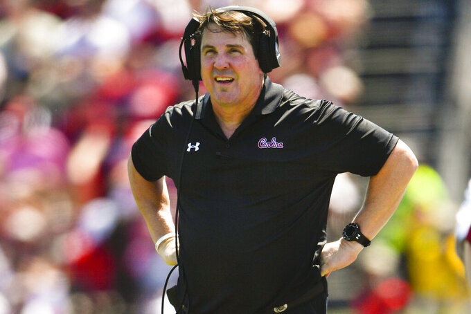 South Carolina coach Will Muschamp works the sideline during the first half of an NCAA college football game against Charleston Southern, Saturday, Sept. 7, 2019, in Columbia, S.C. South Carolina won 72-10. (AP Photo/John Amis)