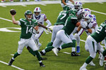 New York Jets quarterback Sam Darnold (14) throws a pass during the second half of an NFL football game against the Buffalo Bills in Orchard Park, N.Y., Sunday, Sept. 13, 2020. The Bills won 27-17. (AP Photo/John Munson)