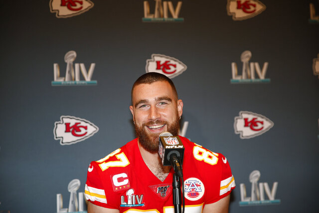 Kansas City Chiefs tight end Travis Kelce (87) during a news conference on Tuesday, Jan. 28, 2020, in Aventura, Fla., for the NFL Super Bowl 54 football game. (AP Photo/Brynn Anderson)