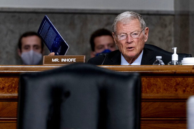 Ranking Member Sen. James Inhofe, R-Okla., speaks at a Senate Armed Services Committee nomination hearing on Capitol Hill in Washington, May 13, 2021. Inhofe says all five of Oklahoma's military installations will remain viable and are poised to grow under the latest annual federal defense appropriation bill. Inhofe on Thursday, July 22, 2021 praised the National Defense Authorization Act that passed out of a Senate committee on a bipartisan 23-3 vote.(AP Photo/Andrew Harnik)