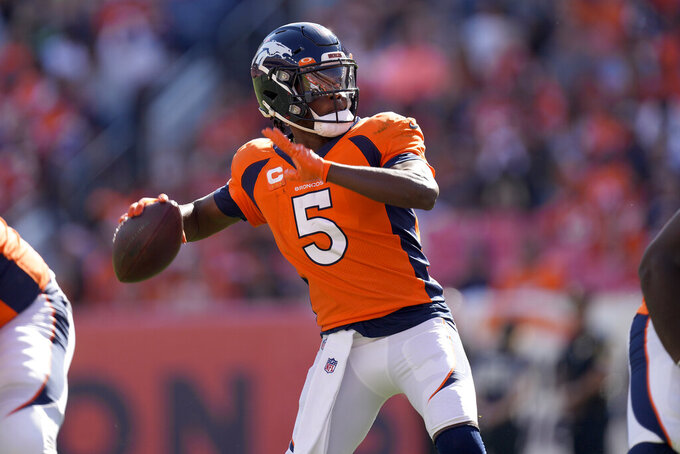 Denver Broncos quarterback Teddy Bridgewater (5) throws against the New York Jets during the first half of an NFL football game, Sunday, Sept. 26, 2021, in Denver. (AP Photo/David Zalubowski)