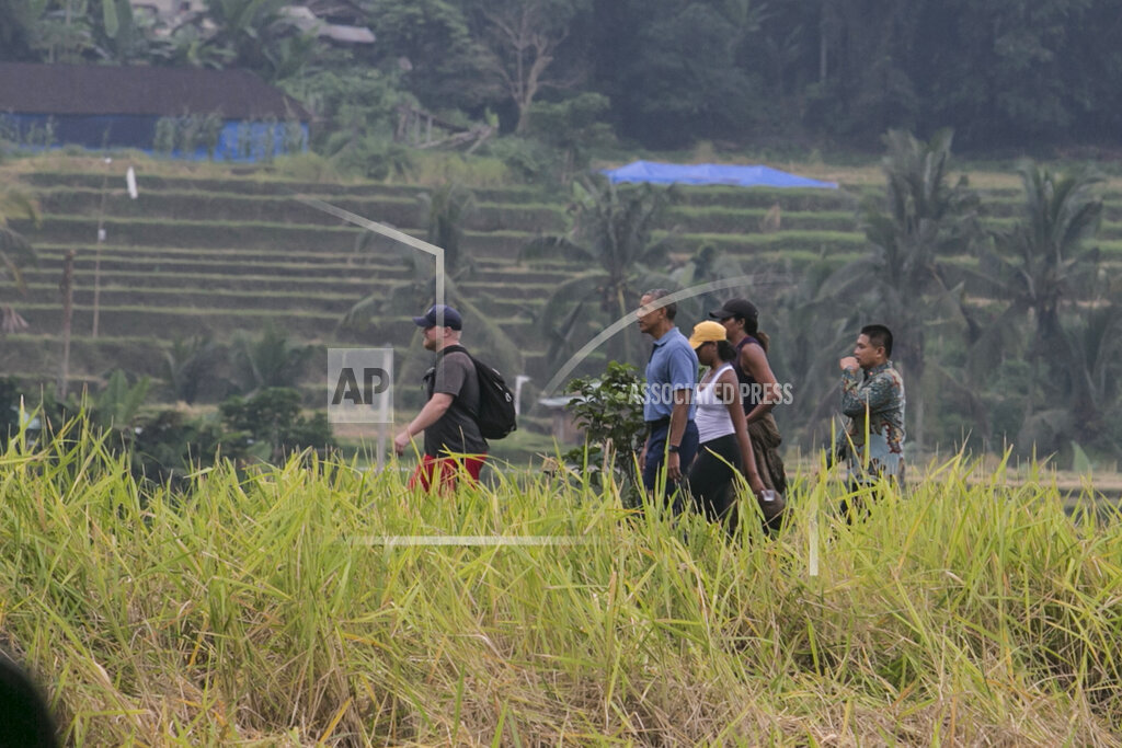 Obama family visits Bali rice terrace during Indonesia vacation