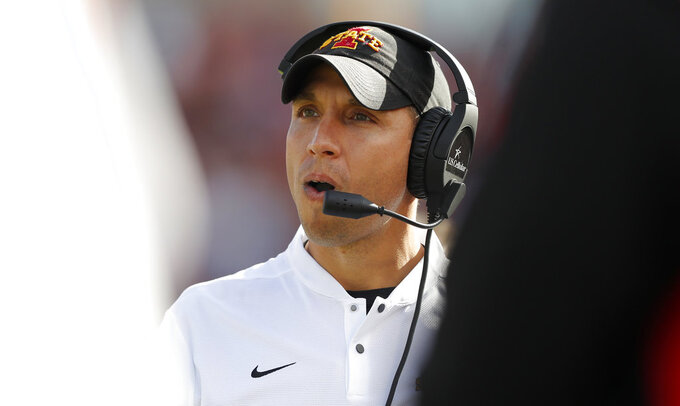 Iowa State head coach Matt Campbell watches from the sideline during the second half of an NCAA college football game against Texas Tech, Saturday, Oct. 27, 2018, in Ames, Iowa. (AP Photo/Charlie Neibergall)