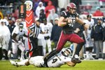 South Carolina tight end Jacob August (40) runs with the ball against Akron cornerback Kyron Brown (4) during the second half of an NCAA college football game Saturday, Dec. 1, 2018, in Columbia, S.C. South Carolina defeated Akron 28-3. (AP Photo/Sean Rayford)