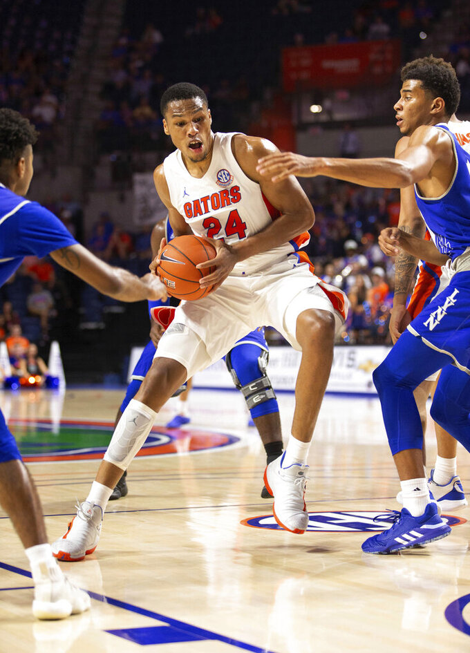 Florida forward Kerry Blackshear Jr. (24) drives to the basket against Lynn during the second half of an NCAA college basketball exhibition game Tuesday, Oct. 29, 2019, in Gainesville, Fla. (AP Photo/Matt Stamey)