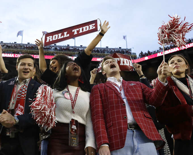 Alabama fans cheer before the NCAA college football playoff championship game against Clemson, Monday, Jan. 7, 2019, in Santa Clara, Calif. (AP Photo/Chris Carlson)