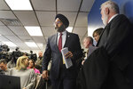 New Jersey Attorney General Gurbir Grewal arrives for a news conference in Jersey City, N.J., Thursday, Dec. 12, 2019. Grewal says authorities believe a shooting in Jersey City was