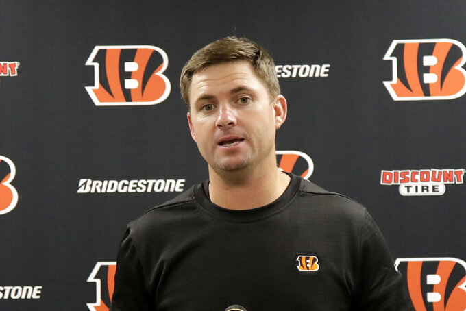 Cincinnati Bengals head coach Zac Taylor meets with reporters following a 27-3 loss to the Pittsburgh Steelers in an NFL football game in Pittsburgh, Monday, Sept. 30, 2019. (AP Photo/Don Wright)