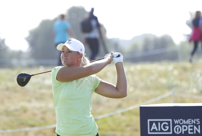 Sweden's AnnaNordqvist plays a driver from the 5th tee during the final round of the Women's British Open golf championship, in Carnoustie, Scotland, Sunday, Aug. 22, 2021. (AP Photo/Scott Heppell)