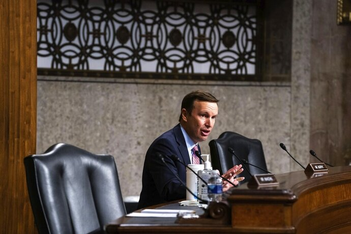 Sen. Chris Murphy, D-Conn., speaks during a hearing of the Senate Appropriations Subcommittee on Labor, Health and Human Services, Education, and Related Agencies, on Capitol Hill in Washington, Wednesday, Sept. 16, 2020. (Anna Moneymaker/New York Times, Pool via AP)