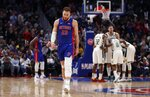 Detroit Pistons forward Blake Griffin walks to the bench after fouling out during the second half of Game 4 of a first-round NBA basketball playoff series against the Milwaukee Bucks, Monday, April 22, 2019, in Detroit. (AP Photo/Carlos Osorio)