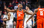 Clemson forward Aamir Simms (25) celebrates after scoring a basket and drawing a foul during the team's NCAA college basketball game against Wake Forest on Saturday, Feb. 1, 2020, in Winston-Salem, N.C. (Andrew Dye/The Winston-Salem Journal via AP)